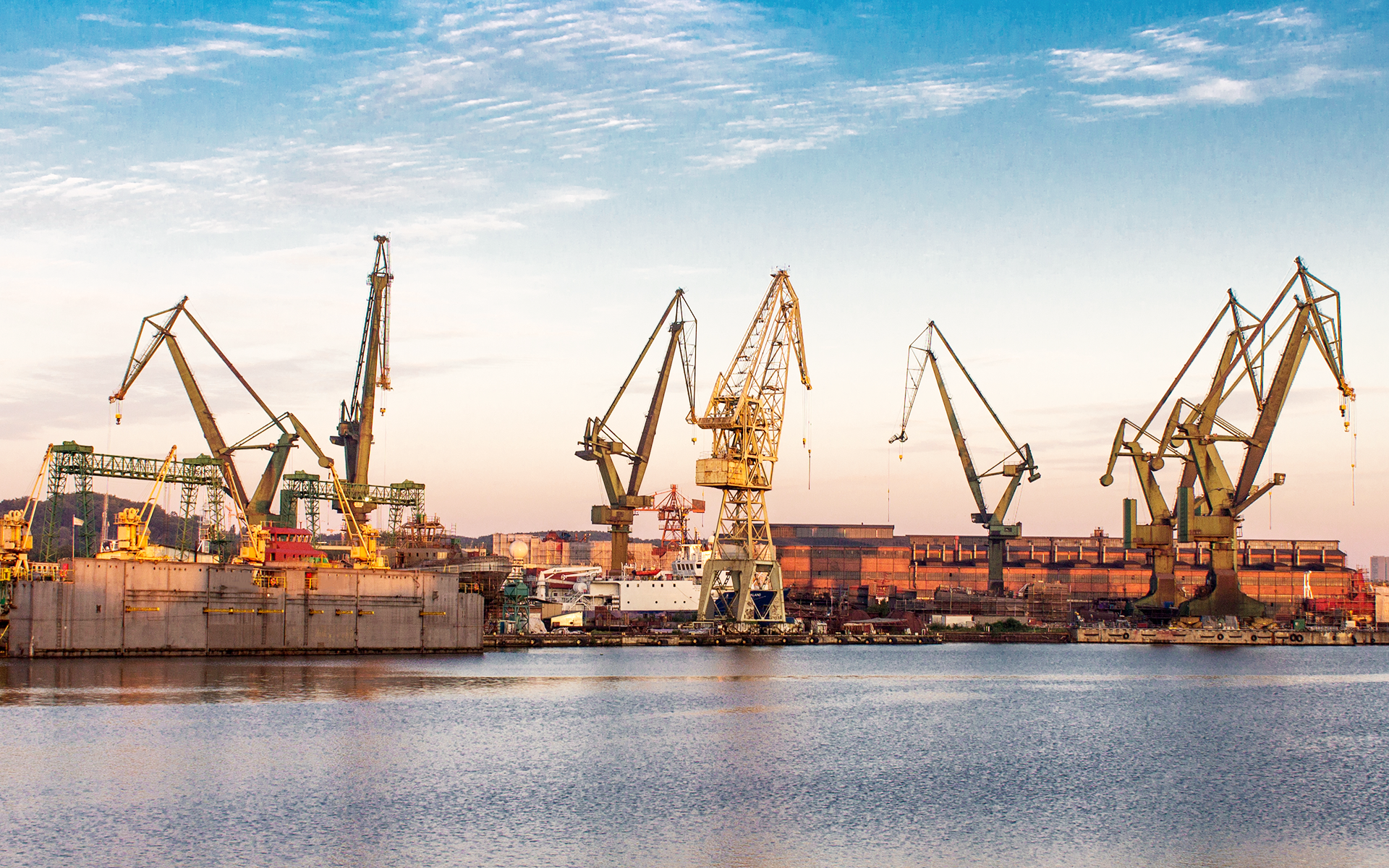 Panoramic picture of Gdansk port.