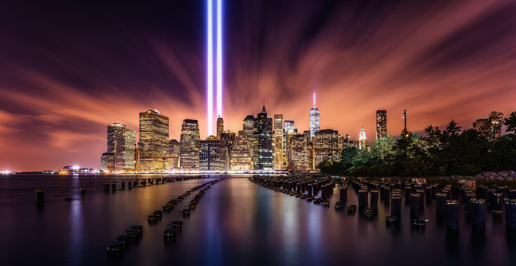 Photo of World Trade Center Memorial on 9/11 anniversary