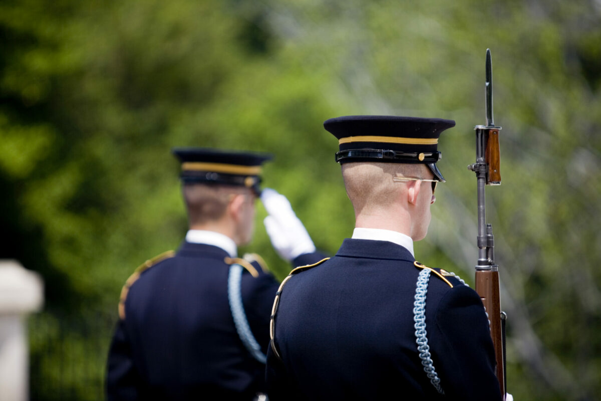 Soldiers serve as Honor Guard at the Tomb of the Unknown Soldier, Arlington National Cemetery.